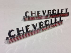 "1947-49 Chevrolet Truck Hood Side Emblems ""Chevrolet Thriftmaster"", w/Fasteners Photo Main"