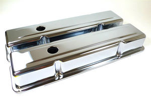 "Chrome ""Tri-Five"" Chevy Valve Cover W/ Offset Hole Photo Main"