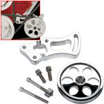 SBC SWP Independent Power Steering Bracket & Pulley Polished