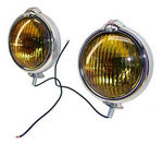 1947-55 1st Series Chevrolet Truck Chrome Fog Light w/ Amber Lens - 4""