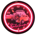 Bitchin Neon Clock with 3 Cars with Magenta Neon