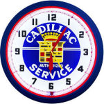 Cadillac Service Neon Clock with White Neon