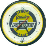 Chevrolet Bowtie Genuine Parts Neon Clock with White Neon
