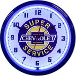 Chevrolet Super Service Neon Clock with Blue Neon