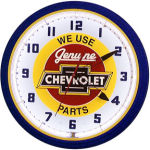 Chevrolet Bowtie Genuine Parts with Red Center Neon Clock with White Neon