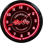 1953-55 Chevrolet Corvette Neon Clock with Red Neon