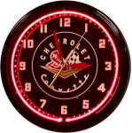 1956-57 Chevrolet Corvette Neon Clock with Red Neon