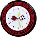 Chevrolet Corvette Motor Division Neon Clock with White Neon