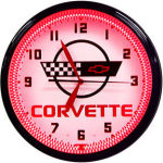 Corvette C4 Neon Clock with Red Neon