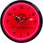 Corvette C5 Neon Clock with Red Neon