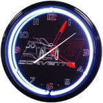 Corvette C6 Black Neon Clock with White Neon