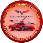 Corvette C6 Red Neon Clock with Red Neon