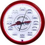 Corvette Cars Neon Clock with White Neon