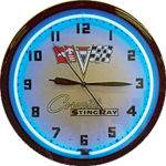 Corvette Stingray Neon Clock with Blue Neon