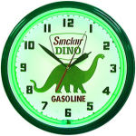 Sinclair Dino Gasoline Neon Clock with Green Neon
