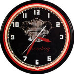 Duesenberg Straight 8 Neon Clock with White Neon