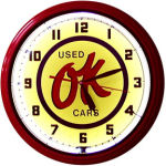Ok Used Cars Neon Clock with White Neon
