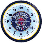 Oldsmobile Service Neon Clock with White Neon