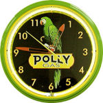 Polly Gasoline Neon Clock with Green Neon