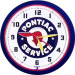 Pontiac Service Neon Clock with Blue Neon