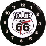 Route 66 Neon Clock with Blue Neon
