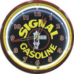 Signal Gasoline Neon Clock with White Neon