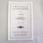 1956 Chevrolet New car retail accesory price booklet
