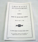 1953 Chevrolet New car retail accesory price booklet