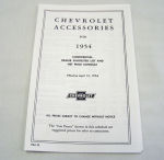 1954/1954T Chevrolet New car/truck retail accesory price booklet