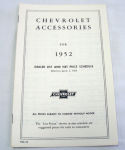 1952/1952T Chevrolet New car/truck retail accesory price booklet
