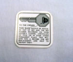 1937-54T Chevy/GMC TK glove box key decal