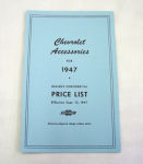 1947/1947T Chevrolet New car/truck retail accesory price booklet