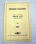 1951/1951T Chevrolet New car/truck retail accesory price booklet