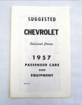 1957 Chevrolet Delivered new car retail price list