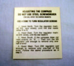 1937-59 Chevrolet Compass instruction glove box decal