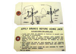 1937-40 Chevrolet Jack instruction tag