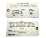 1953-54 Chevrolet Heater instruction tag