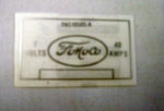 1952-54 Ford Voltage regulator decal