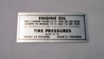 1949-51 Ford Glove box tire pressure decal