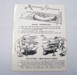 1952-56 Ford Station wagon jack instructions decal