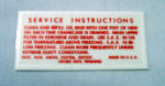 1952-53 Ford Oil bath side air cleaner service decal