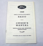 1940 Ford Radio owners manual (Zenith)