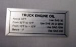 1955-56T Ford Oil pressure decal