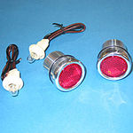 1940-66 CHEVY BED ROLL LIGHTS - POLISHED ALUMINUM W/ RED LIGHTS, STEPSIDE