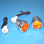 1940-66 CHEVY BED ROLL LIGHTS - POLISHED ALUMINUM W/ AMBER LIGHTS, STEPSIDE