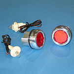1967-87 CHEVY BED ROLL LIGHTS - POLISHED ALUMINUM W/ RED LIGHTS, STEPSIDE
