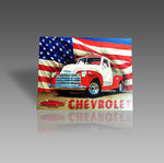 CHEVROLET AMERICAN FLAG METAL SIGN