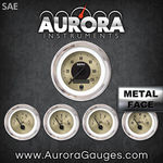 Aurora 5 Gauge Set - SAE American Classic Gold III, Black Modern Needles, Chrome Trim Rings