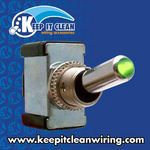 All Metal Toggle Switch With LED - Green 20a/12v
