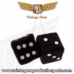 "3"" Black Fuzzy Dice with White Dots - Pair"